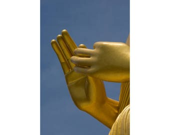 Photograph of the hands of the Buddha statue at the Golden Temple, Dambulla, Sri Lanka - Fine art archival photographic print by Steve Davey