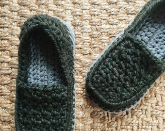 Father's Day Loafers - crochet mens slippers - crochet knit loafers - house slippers for men - boys crochet slippers