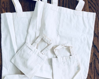 Group of blank canvas bags