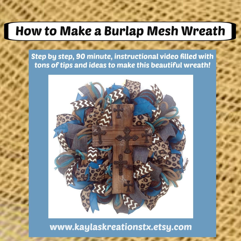 Burlap mesh wreath tutorial how to make a burlap mesh wreath zoom baditri Images