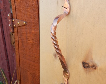 Solid Copper Door Handle Pull, Hand Forged