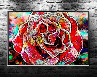 Frozen rose red original abstract painting. Frozen rose red  original art digital download. Abstract flowers frozen rose red .
