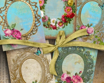 Printable download VICTORIAN FRAMES Digital Collage Sheet Gift tags Jewelry Holders 2.5x3.5 inch images vintage ephemera greetings cards