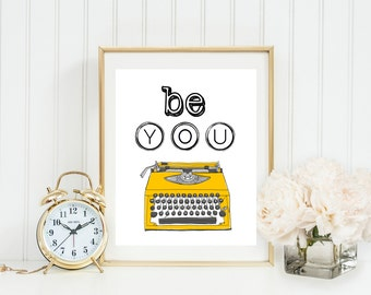 Be You Vintage Typewriter Wall Art, Yellow typewriter, Typewriter Keys, Inspirational, Home, Office, Dorm Classroom Art