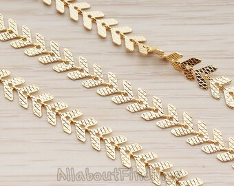CHN093-G // Glossy Gold Plated Textured Fishbone Chain, 1 Meter