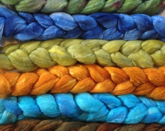 Hand Dyed gradient roving set 6ozs polwarth/silk 70/30 ready to ship