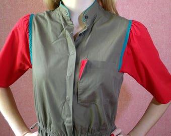 military dress/vintage dress/khaki dress