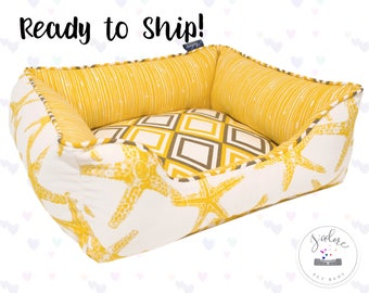 X-Small Dog Bed - Yellow Starfish Dog Bed or Cat Bed | Nautical, Starfish, Gray - Washable, Flippable & Ready to Ship!