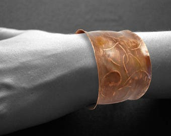 Copper cuff bracelet, abstract, modern, hammered copper cuff, hammered bracelet, seventh anniversary, Mother's Day