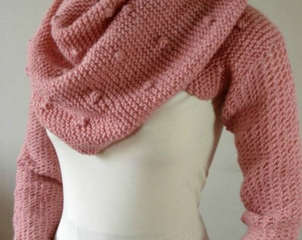 KNITTING PATTERN Scarf Hood with Sleeves - Celine Hooded Scarf - Hood Scarf Cowl with Long Sleeves, pdf files Instant Download