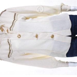 Sale • Gianni Versace Vintage Cream Jeweled Button Down Shirt Size European 38