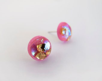 Pink Sparkly Round Stud Earrings - Hypoallergenic Surgical Steel Posts