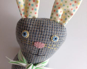 PLUSH BUNNY DOLL--Cloth Bunny Rabbit Doll--Easter Gift--Easter Basket Filler--Baby Gift--Happy Easter--Gray Blue Tweed Wool Bunny Rabbit