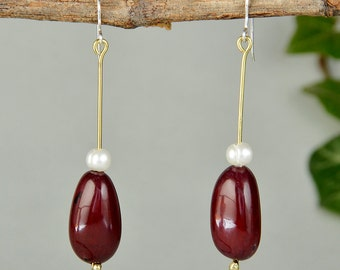 Tagua earring with pearls, garnet drops, boho jewelry, handmade long drop, vegetable ivory drop, eco-chic earring, ethnic women dangle