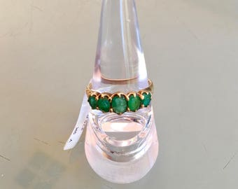 9ct Yellow Gold 5 Stone Emerald Bridge Ring Vintage Style