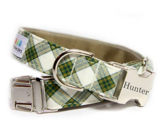 Green and Ivory Plaid Dog Collar - The Charsleton