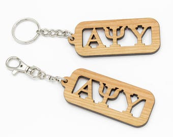 Greek Letter Keychain. Any Two or Three Greek Letters. Made out of Black Cherry Hardwood.  Sorority or Fraternity Gift. Clip or Split Ring.