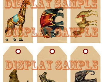 Six Victorian Gift Tags - Circus Animals - A4 Digital Download