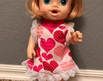 Valentine's dress for Baby Alive or Other 12 inch Doll