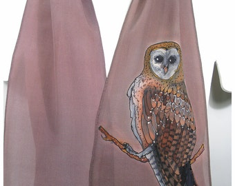 "SALE. Hand painted silk scarf. Barn Owl Silk Scarf. 8""x52"". Owl silk scarf. Silk painted scarves. Painted silk scarf~Hand painted silk scarf"