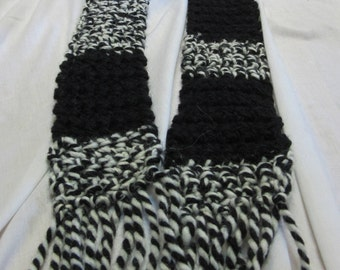 Wool Black White Scarf, 56x3.5, Mans, Womens, Short Crochet knit, Bohemian, Retro, Thin, Stripes, Evening, Tuxedo, Party, Unique, Chunky