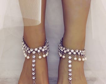 Diona Barefoot Sandals Silver Foot Jewelry Beach Wedding Sandals Boho Bride Jewelry Wedding Accessories Silver Anklet Foot Thong Wedding