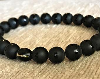 "FREE SHIPPING! BOBECCAN Handmade 7"" Onyx Gemstones Bracelet"