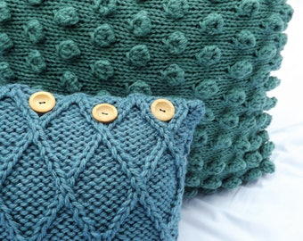 Large Bobbled Scatter Cushion - Hand Made - 24x24