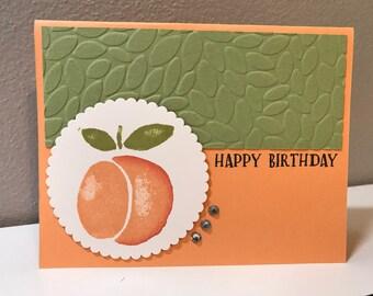 Birthday, Peach Handmade Stampin' Up! Card