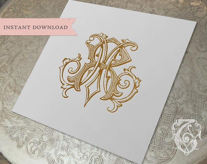 Vintage Wedding Monogram MR RM Digital Download  R M