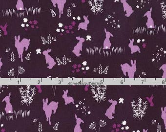 Dark Purple Bunny Fabric, Rabbit Quilt Fabric, Michael Miller DC 7303 Frolic, Violet Craft, Bunny Quilt Fabric, Purple Rabbit Fabric, Cotton