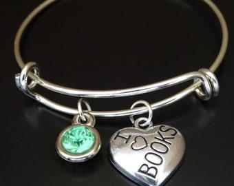I Love Books Bangle Bracelet, Adjustable Expandable Bangle Bracelet, Book Charm, Book Pendant, Book Bracelet, Gift for Teacher, Book Worm