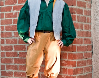 Complete Men's Peasant Outfit - Blue Linen with Dark Green - Small