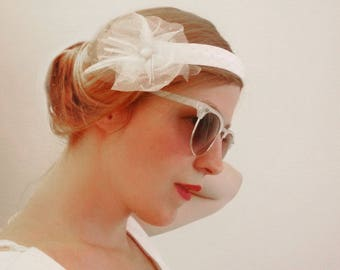 Fascinator bridal headband has flower dotted tulle, button and ribbons, retro inspiration 'foolish years'