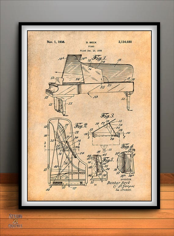 1938 beck steinway grand piano patent print music art poster malvernweather Gallery