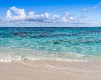 Beach Photography, Turquoise, Resin Coated, Wall Art, Limited Edition, Panorama, Beach Photo - Anguilla Dreams