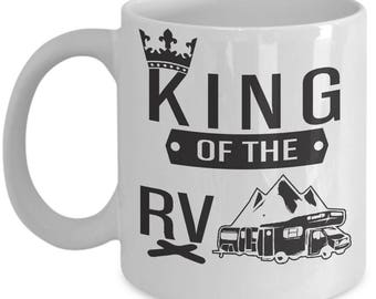 Husband Camping Mug-King of the RV Kitchen Camper Coffee Cup Gift Caravaners-Men