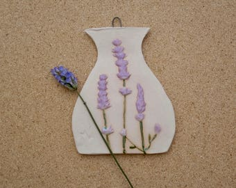 Ceramic plaque with lavender, Botanical wall ornament, Vase shaped lavender wall art, Country home decor