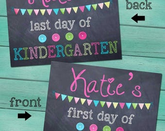 First and Last Day of Kindergarten Personalized CHALKBOARD - Pink FL0003