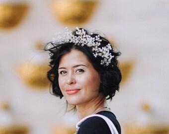 Crystal Headband for Bride, Winter Wedding Headpiece, Bridal Hair Piece, Wedding Headband, Bridal Head Wreath Rhinestone Tiara