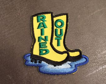 Rained Out Merit Badge Galoshes Puddle Rain Boots Scout Patch
