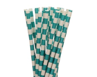Paper Straws, Teal Rugby Horizontal Striped Paper Straws, Teal Little Man Party Supplies, Engagement Party Straw, Mermaid Party Paper Straws