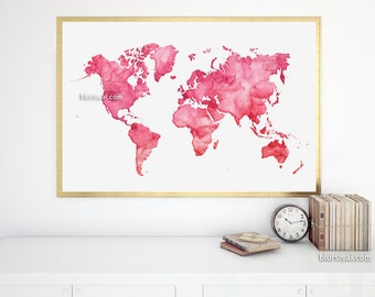 36x24 printable world map with us states black white world 36x24 watercolor world map printable hot pink red world map red watercolor gumiabroncs Choice Image