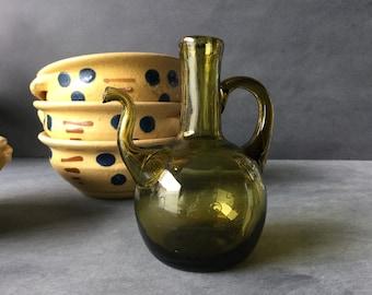 VINTAGE Cruet - Green Glass Oil or Vinegar Flask - Forest Green Mouth Blown Gooseneck Bottle - Turkish or Persian
