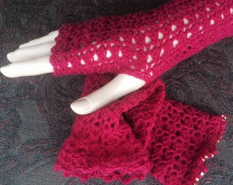 Lace Fingerless Mittens Lacy Gauntlets Gloves Wristers Cuffs Wrist-Arm Warmers