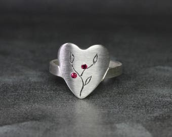 Unique Heart Signet Ring Silver Pink Red Ruby Romantic Valentine's Day Branch Leaf Engraving Comfortable Modern Gift Idea Her - Love Growth