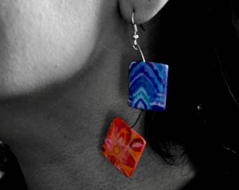 watercolor earrings with resin