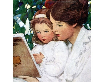 Mother and Daughter Read Together Magnet - Repro Jessie Willcox Smith