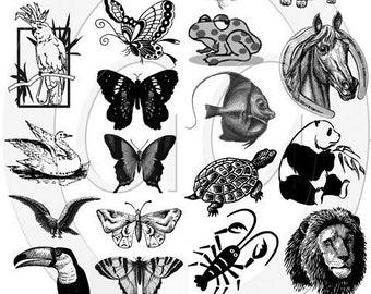 Sepia Decals for Fused Glass and Ceramics - Creatures