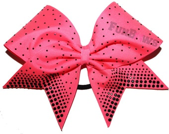 Gorgeous Rhinestone Allstar Cheer bow with Black Stones - by FunBows !